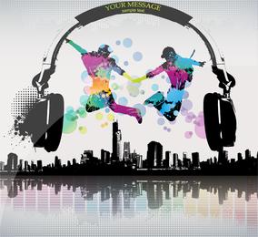 La tendencia del vector de la ciudad de la música