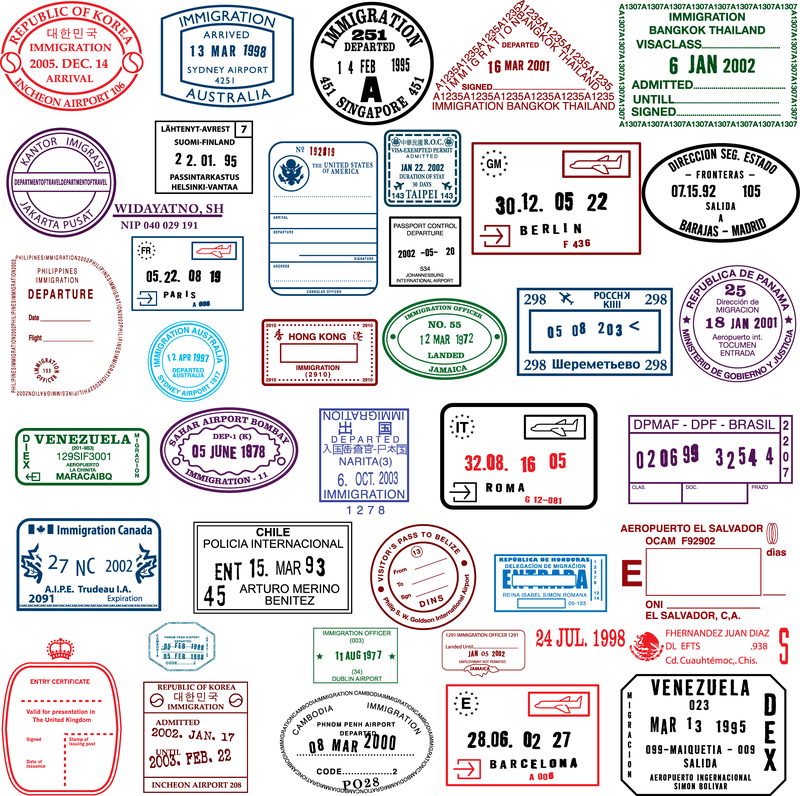 Countries In The Visa Stamp Vector Vector Download