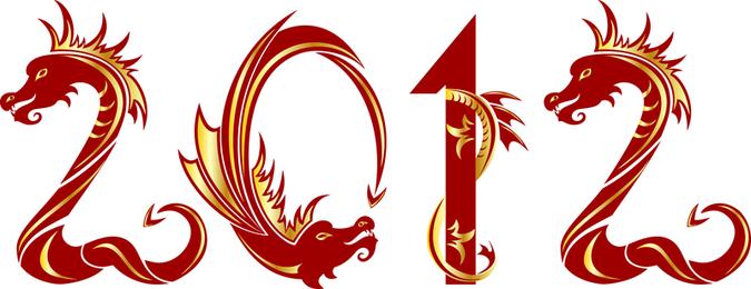 2012 ano do vetor de Design criativo de dragão 04