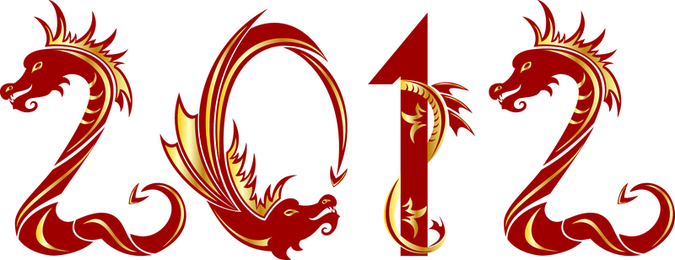 2012 Year Of The Dragon Creative Design 04 Vector