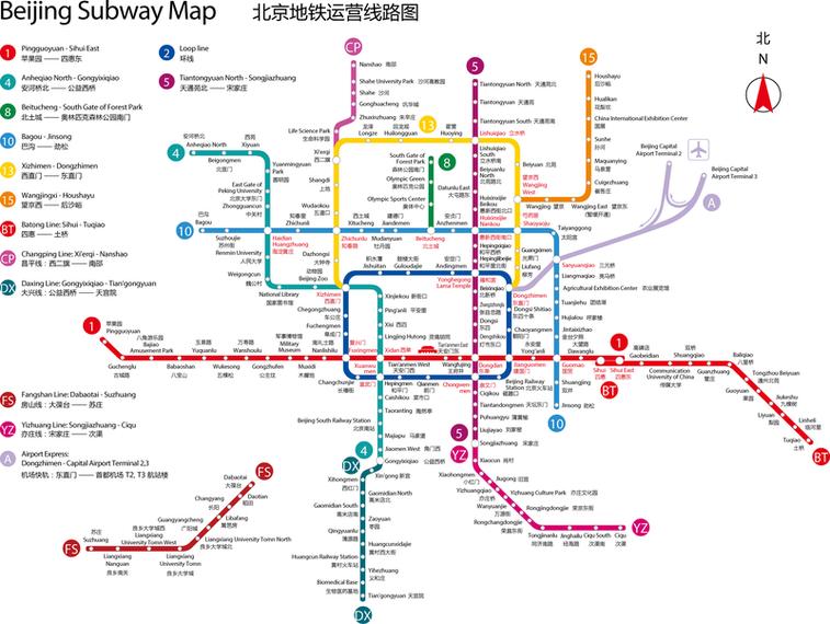 Mapa del metro de Beijing en versión en inglés en 2011