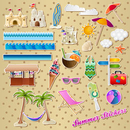 Lovely Seaside Stickers 01 Vector