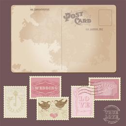 Postales y Sellos Clásicos 02 Vector