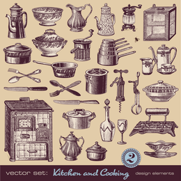Retro Tableware 02 Vector