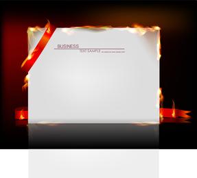Papel ardiente con maqueta de cinta roja.