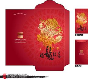 Ano do vetor Molde do dragão vermelho do envelope 01