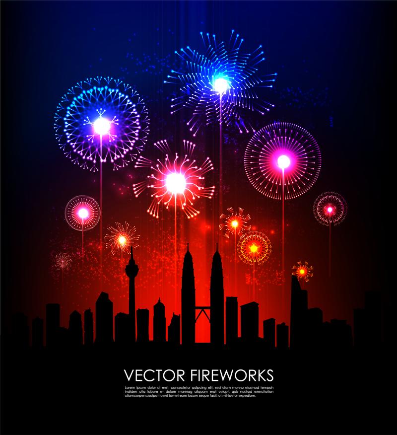 Festivos Fuegos Artificiales 02 Vector Descargar Vector