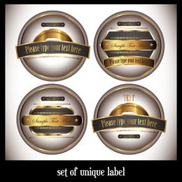 Fina botella marcada etiquetas vectoriales