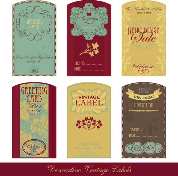 Nostalgic European Label Vector