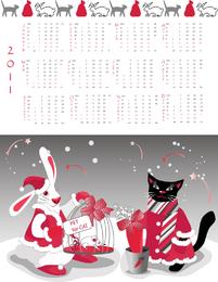 Año de la plantilla de calendario 2011 conejo Vector