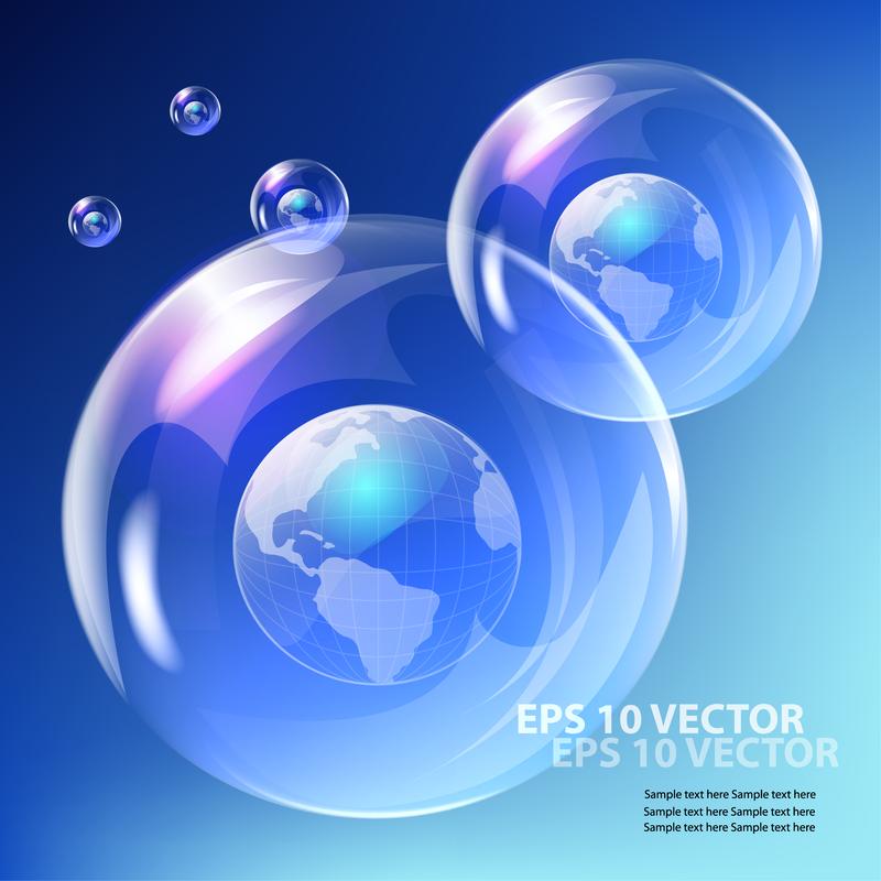 Burbujas finas y cielo azul 03 Vector