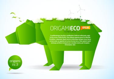 Vetor De Origami Verde Animais 01