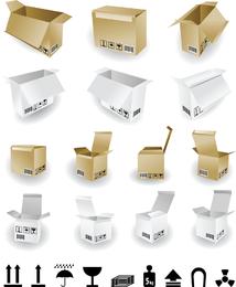 Caixas de papelão e vetor de identificação de envio