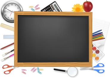 Vector de útiles escolares y papelería