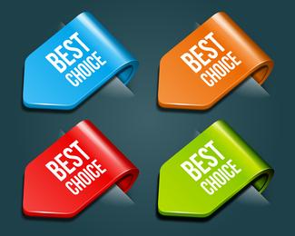 4 etiquetas plegadas de colores