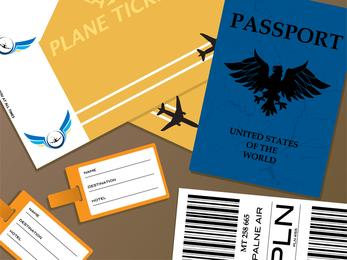 Vetor de documentos de passaporte