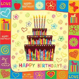 Exquisito elementos pintados a mano cumpleaños 01 Vector