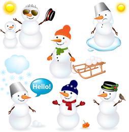 Conjunto de ilustração de bonecos de neve 3D isolado