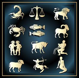 Conjunto de animais de constelação de horóscopo