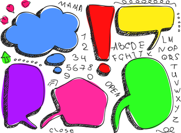 Adorável handdrawn diálogo bolha vector 1