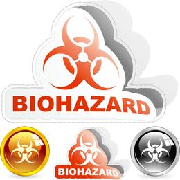 Biohazard label icon set