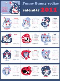 Calendar 2011 Year Of The Rabbit Lovely Vector