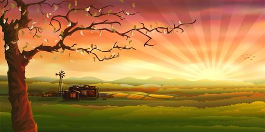 Ilustración de paisaje puesta de sol de campo