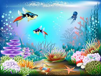 Magnífico mundo submarino 02 Vector