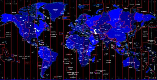 El mapa de zona horaria mundial identifica el vector