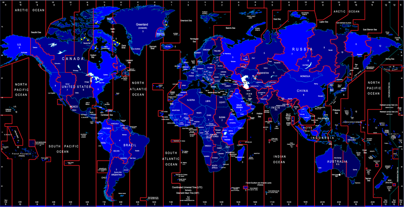 World Time Zone Map Identifies The Vector - Vector download