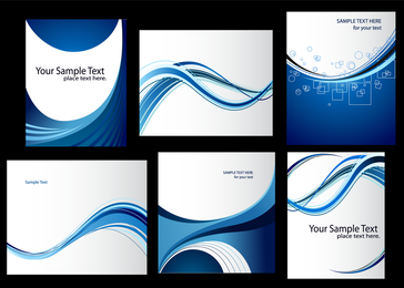 Dynamic Lines Of The Blue Card Template Vector