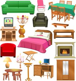 Una variedad de imágenes prediseñadas de muebles
