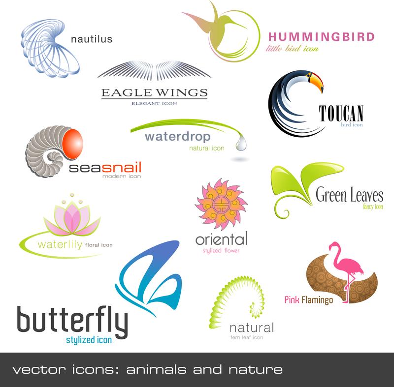 animals plants shape logo template vector vector download