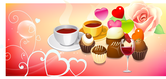 Coffee And Cake Vector Sushi