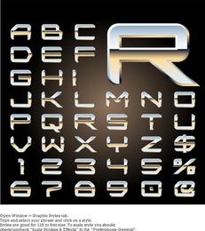 Diseño de letras tridimensionales de metal serie 08 vector