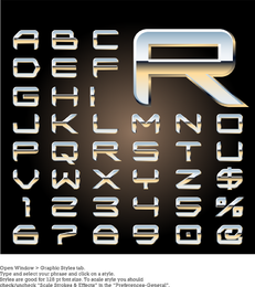 Letras de metal tridimensional Design série 08 Vector