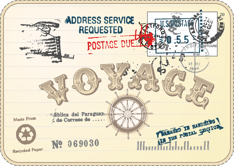 Vintage Postcards And Stamps 03 Vector