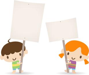 Children Placards Vector