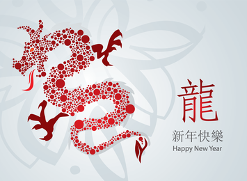Year Of The Dragon Cards 01 Vector
