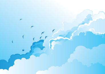 Big Blue Sky Scenery Vector Of Wild Geese