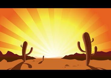 Sunset Desert Cactus Clip Art