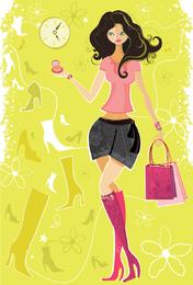 5 garota de compras de moda de vetor