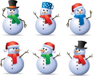 6 boneco de neve do vetor