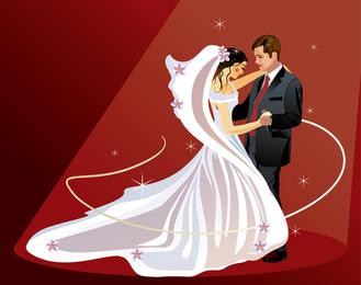 4 ilustrador do vetor do tema do casamento do casamento