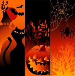 Vector Halloween Pumpkin Spider Black Cat