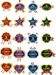 40 honras e prêmios fitas vetor de medalhas