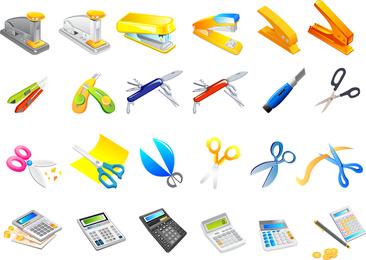 Colección de herramientas de oficina.