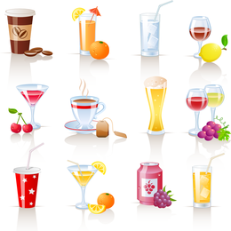 Set de bebidas ilustradas