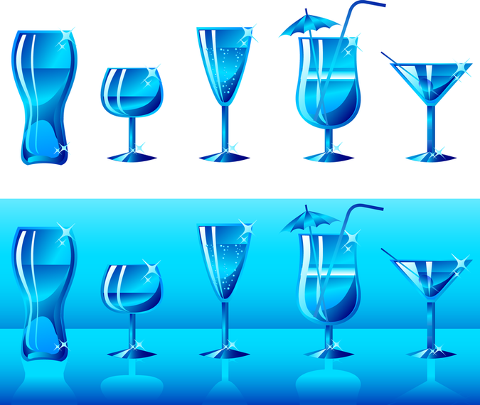 Bottles And Cups Vector