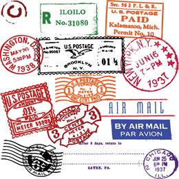 Vetor de carimbo de selo estrangeiro